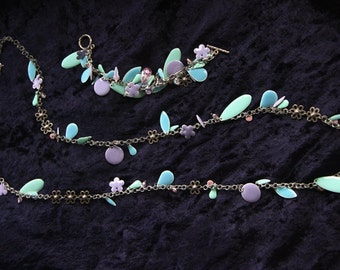 Flower Petals - Dangly, colorful jewelry set on chain