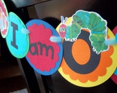 The Very Hungry Caterpillar Party- I am ONE highchair banner