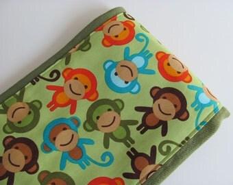 Ready to Ship // Urban Zoologie Monkeys on Green Hand Dyed Burp Cloth