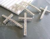 100 pcs BULK PRICE-High quality Silver plated with Clear Cyrstal Rhinestones sideways crosses Bracelet Connector--25mm x 48mm