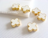 Gold plated Double-sided Metal Clover Connector beads in white color- 15mm