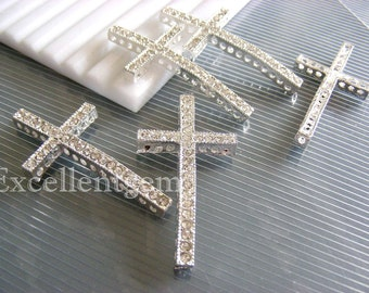 20 sliver plated Rhinestone cross connector, side way cross bracelet connector, High quality Cruved Rhinestones crosses Bracelet Connector
