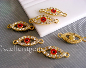5pcs  gold plated with crystal rhinestone evil eye connector beads in red color.