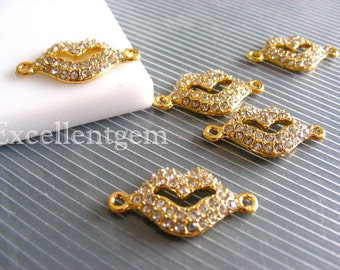 Clearance sale-5pcs Lovely,Small Hot lips-- Gold Plated with High quality Crystal Rhinestones Pendant or bracelet connection