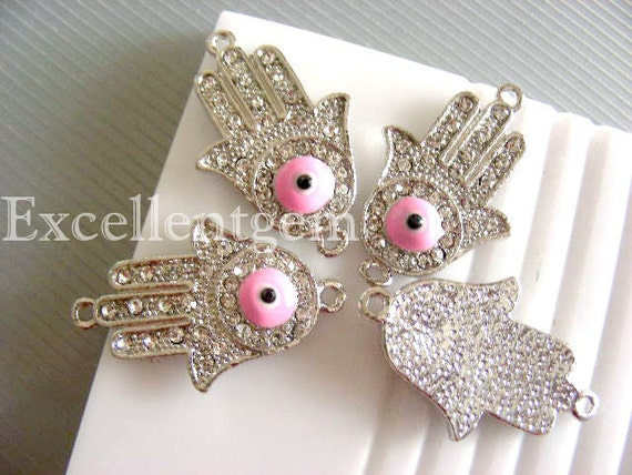 Rhinestone connector -5pcs High quality silver plated with pink evil eye,Hands of Fatima Hamsa Bracelet Connector