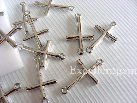 10 bracelet connector, silver plated Cross Connector, pendant, jewelry making 14mm x 24mm