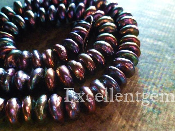 AAA - Nature Fresh Water PEARL Heshi--- Roundel in Rainbow black color -10.5mm to 11.50mm