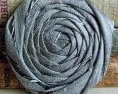 Gray Flower, silver flower, hair flower, large flower, headband supplies, wedding flowers