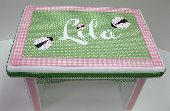 Ladybug Personalized Sturdy Stool- Time Out or Name