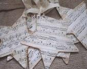 Vintage Sheet Music Star Ornaments Set of 6 - Christmas - Shabby Christmas