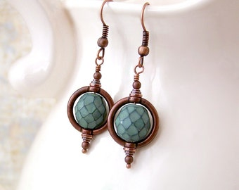 Green and Copper Steampunk Earrings with a Saturn Ring - Steampunk Jewelry - Jade Green Beads
