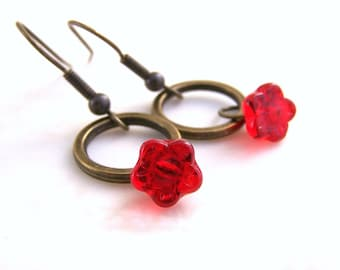 Red Flower Earrings on a brass ring - antique brass circles with a red Czech glass bead hanging below - simple earrings