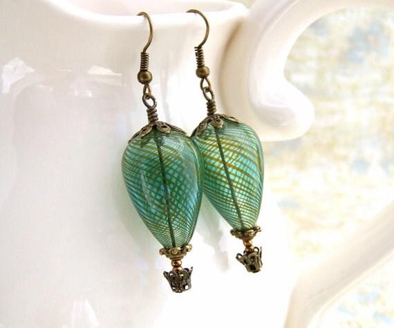 Green Hot Air Balloon Earrings - Green Steampunk Jewelry - blown glass beads and brass earrings
