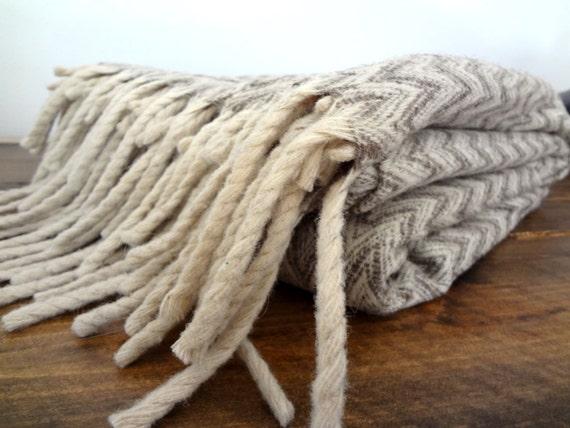 Handmade Wool Chevron Patterned Blanket
