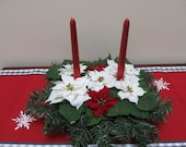 Sm Poinsettia Centerpiece with Candles