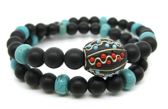 Mens Double Wrist Mala - Ebony Wood, Meditation Beads, Yoga Beads