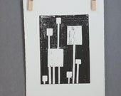 Mid Century Modern Linocut PRINT Black and White Squares 8x10