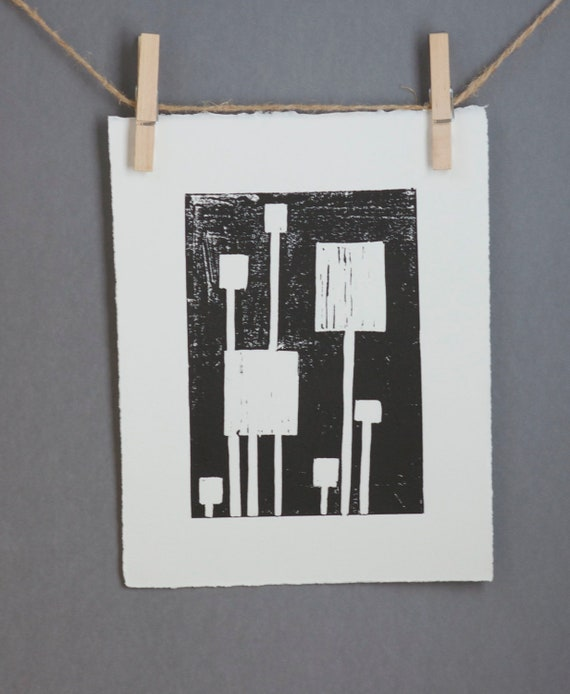 Mid Century Modern Linocut PRINT Black and White Squares 8x10