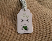 Be Merry Frog Holiday Tags