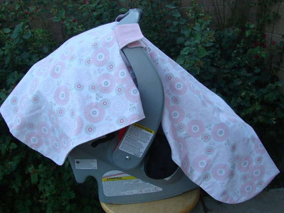 Baby Car Seat Cover Pink Grey Flower And Dots By