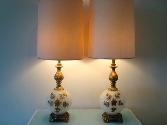 Pair of Gorgeous Antique Hollywood Regency Style White Glass Globe Three Way Lamps Gold Rose