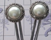 Pearl Bobby Pins Antiqued Silver with White Pearl - Wedding Accessory - Sweet 16 -  Pearl Flat Hair Pin - Winter Accessories