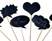Chalkboard Speech Bubbles wooden (set of 6) - Photo Booth Proms on sticks for photo booth and more
