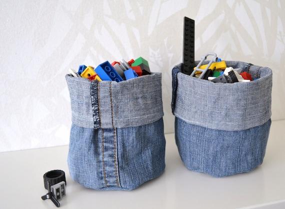 mini containers - denim - shelf storage - fabric basket - set of 2x - fabric storage box - gift basket - ostat