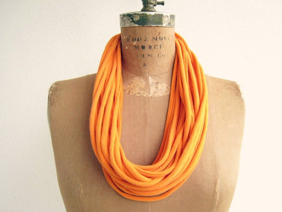 "T Shirt Necklace for Her / Tangerine Harvest Orange / Long Short / 29 1/2"" Long / 74 cm / Women / Girls / Upcycled / Recycled / by ohzie"