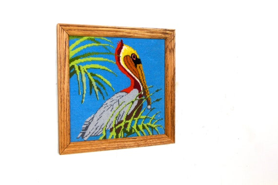 Pelican Home Decor Pelican Bird Stitched Framed Wood