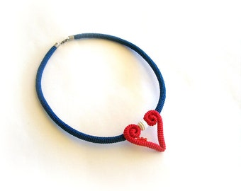 Red White Blue Heart Necklace, Nautical Themed Crochet Choker