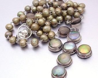 Freshwater Pearl, Smokey Quartz & Sterling Silver Catholic Rosary