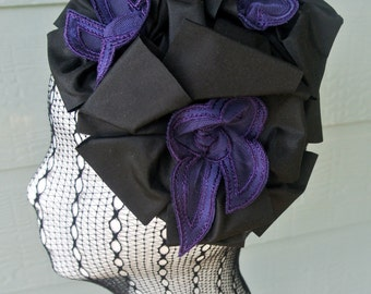 The RUBY - black headpiece, black fascinator, black hair accessory, black hair comb