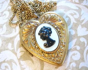 Large Art Nouveau MOP Cameo Locket Necklace