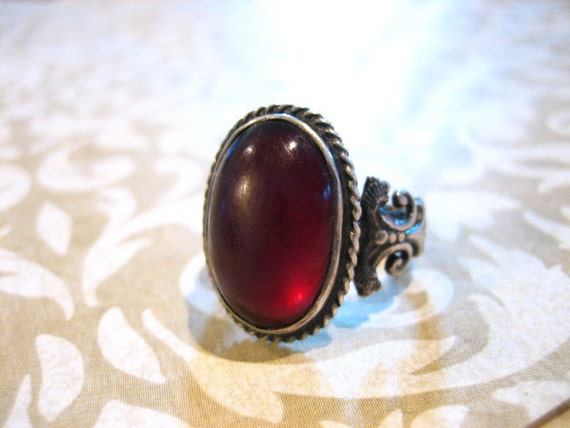 Vintage Sterling Silver Mythical Creatures Red Stone Ring