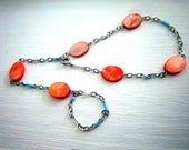 Bright Orange and Turquoise Harem Bracelet