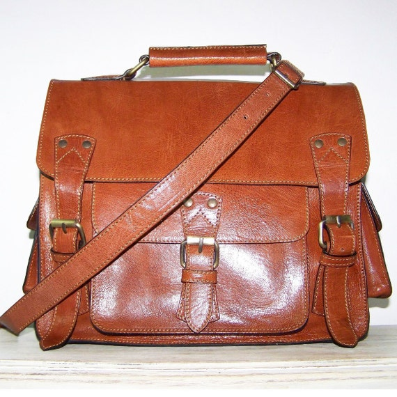 "Leather Messenger Cross-body Bag Handbag Neder size M in tan fits a 11"" laptop SALE"