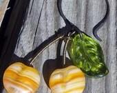 Tart Yellow Cherry Fruit Earrings in Czech Glass and Antique Brass