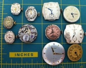 Watch faces, Steampunk, Goth, Gears, Vintage supplies 11 Pieces