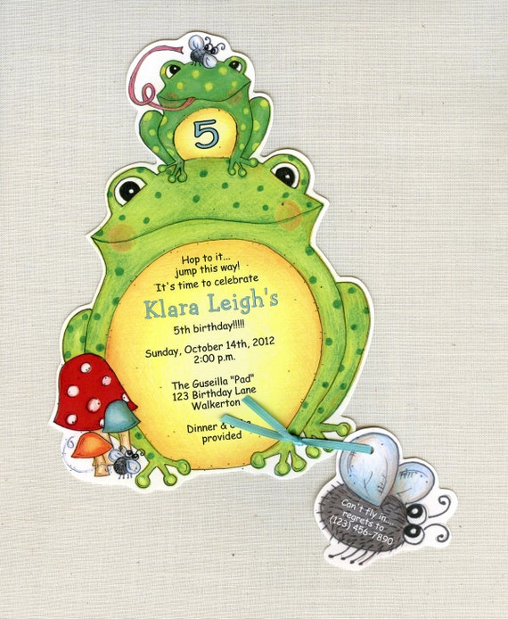 Personalized - Frog - Birthday - Party - Invitations - Handcut - Sara Jane - Child - Birthday - Invite - Set of 10
