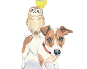 Jack Russell Watercolor, Owl Watercolor, Bird Watercolour - Animal Illustration, 8x10