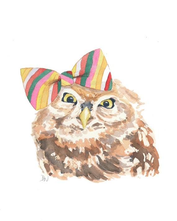 Original Owl Painting - Watercolor Animal, Striped Hair Bow, Owl Illustration, 8x10