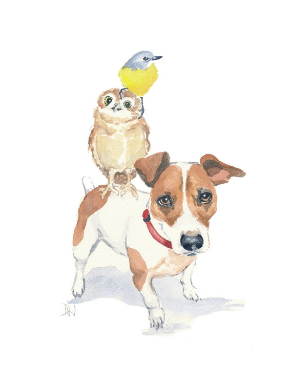 Jack Russell Watercolor, Owl Watercolor, Bird Watercolour - Animal Illustration, 8x10