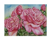 Pink Rose Watercolor Print Flower Garden Summer Gift Love Floral Art