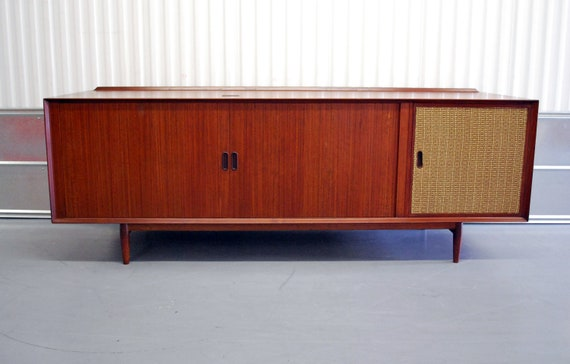 FREE SHIPPING Mid Century Modern Danish Teak Credenza with Tambour Doors
