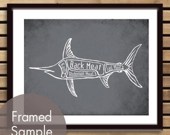 Swordfish Butcher Chart - Art Print (featured in Charcoal) (Buy 3 and get One Free) Seafood Butcher Diagram