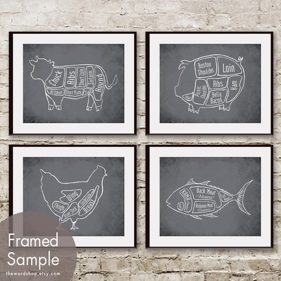 Cow, Pig, Chicken and Tuna Fish Butcher Diagram Series - Set of 4 Art Prints (Featured in Charcoal)
