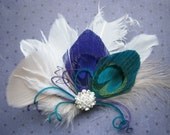 Peacock Wedding Feather, Hair Accessories, Feather Hair PIece, purple, teal, peacock, feather hair clip, emerald - TEAL and PURPLE FANTASIES