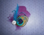 peacock, wedding, feather, accessories, Bridal, Hair, Fascinator, Accessory, Purple, Teal, Blue  - PURPLE and BLUE PEACOCK