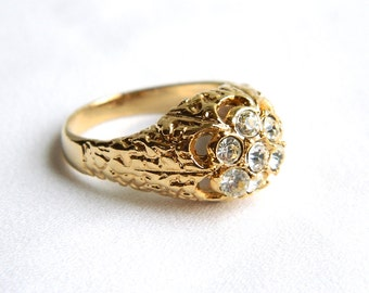 Vintage Gold Nugget Rhinestone Ring - Men's - Size 12 3/4 - 1960 - Lucky 7